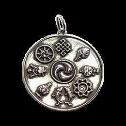 Колелото на Дхарма е един от осемте благоприятни / благотворни символи, наречени Аштамангала.